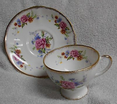 Royal Standard  Pink Rose  Blue Daisy Bouquet  Cup and Saucer