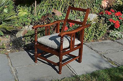 Original Arts and Crafts childs oak reclining chair adjustable recliner c.1910