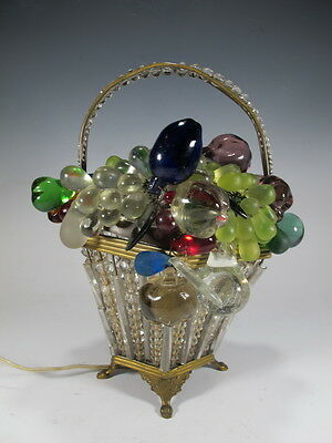 Antique French Bronze & Glass grapes basket lamp - D7705