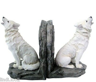 Ornamental Wolf Bookends ~ Wolf Figurine Book Ends ~ Wolves ~ New!
