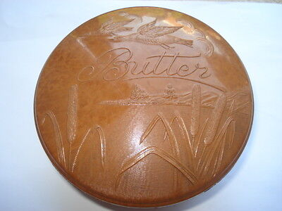 C1930S Vintage Bakelite Butter Pot With Picture Of A Lake With Ducks In Flight