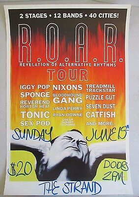 June 15 1997 R.o.a.r. Tour Poster Iggy Pop Nixons Sponge Bloodhound Gang & More
