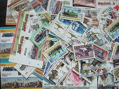 TRAINS Stamps Thematics 10 grams Whole World Mixed CTO's & Genuine Postage
