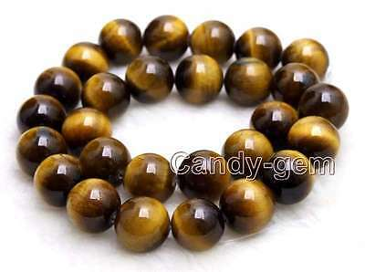 """Big 14mm AA Round natural High Quality yellow tiger's-eye Beads strand-15""""-lo701"""