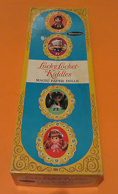 1968  Lucky Locket Kiddles Paper Dolls in box & some clothes un-cut Halloween