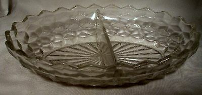 FOSTORIA crystal AMERICAN 2056 pattern #157 2-part Oval Divided Vegetable Bowl