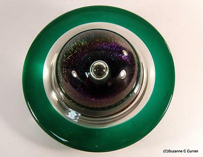 Correia Art Glass Lg Teal Ring Bubble Center Celestial Saturn Paperweight Signed