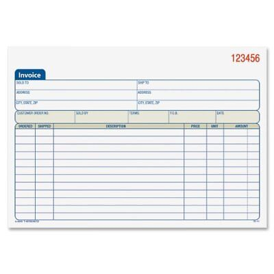 Adams Invoice Book, 2-Part, Carbonless, 5-9/16 x 8-7/16 Inches, 50 Sets per New
