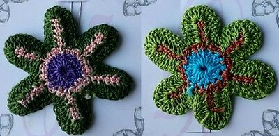 Colourful knitted look hair flowers **SALE** HAIR ACCESSORISES OR CRAFT MAKING
