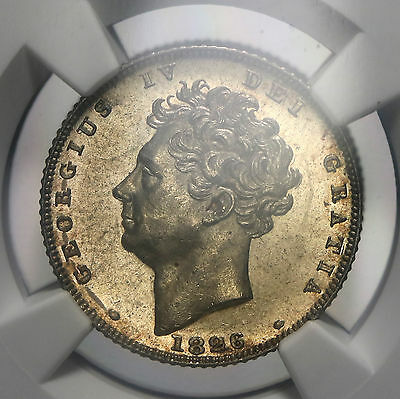 1826 UK Great Britain Sixpence George IV Silver Bare Bust NGC MS63 S. 3815