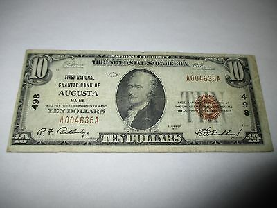 $10 1929 Augusta Maine ME National Currency Bank Note Bill! Ch. #498 VF+ RARE!