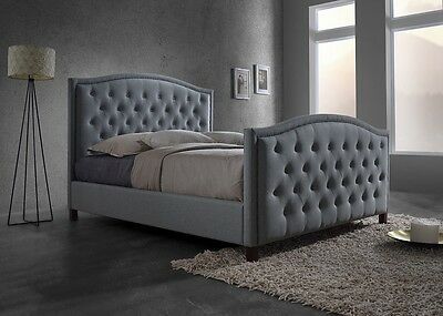 Luxury Queen Size Fabric Bed with Buttons & Studs – Light Grey