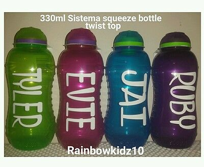 Personalised drink bottle Blue ANY NAME Sistema 330ml.Great 4 toddlers.Boys