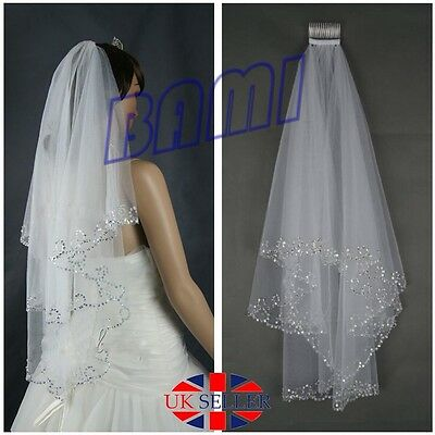 Beautiful White 2T Beaded Edge Sequins Wedding Bridal Elbow Veil With Comb  *UK*
