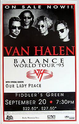 "VAN HALEN ""BALANCE WORLD TOUR '95"" DENVER CONCERT POSTER-Sammy, Alex, Ed,Michael"