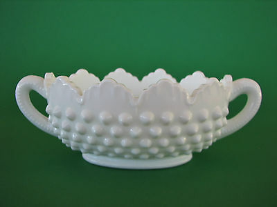 Vintage Fenton Milk Glass Hobnail Two Handled Bowl Dish