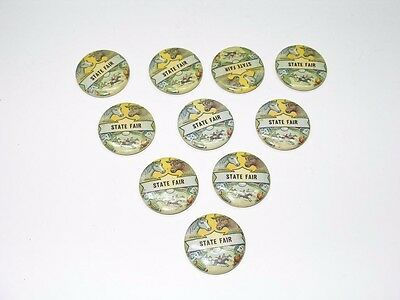 10 Vintage State Fair Prize Ribbon Celluloid Over Tin Buttons
