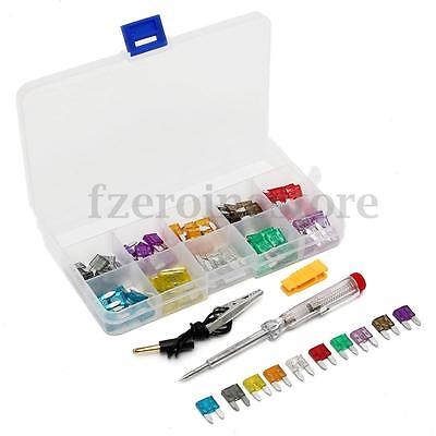 100Pcs Assorted Auto Car Mini Blade Fuse Set With Free Puller & Test Pen Kit New