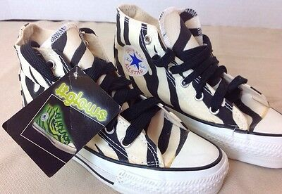 RARE VINTAGE USA Converse Chuck Taylor All Star Shoes Zebra Glow Youth Kids12.5