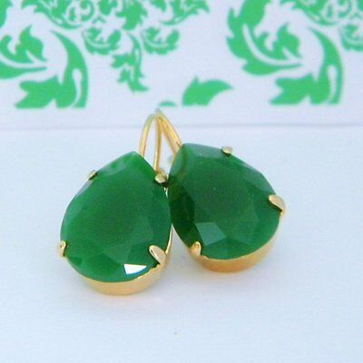 Emerald Jade Green Faceted Glass Gold Leverback Drop Earrings