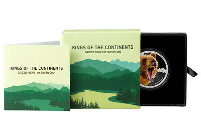 2016 Niue $2 1 oz. Proof Silver Kings of Continents Grizzly Bear In OGP SKU43192