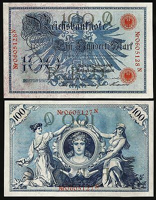 GERMANY 100 MARK 7 FEBRUARY 1908 UNC P.33a RED SERIAL NUMBER AND SEALS