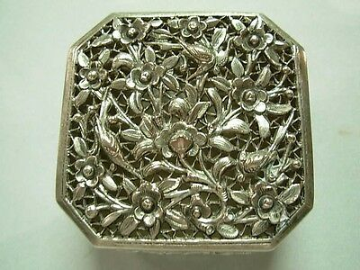 Antique Chinese Export Silver Pierced Repousse Trinket Box With Flowers & Birds