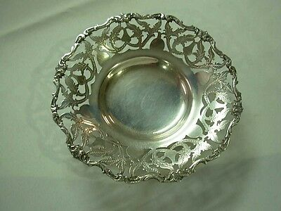 """Vintage Cairo Egyptian 900 Silver 7"""" Etched Pierced Rim Footed Bowl ~ 201 Grams"""