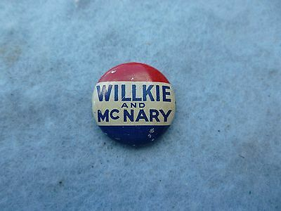 1940 Willkie McNary Pin Republic Ticket Celluloid Button Roosevelt Election