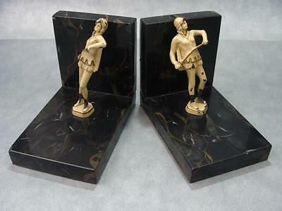 Art Deco Lady Fencer Medieval Bookend Set Marble Cast Iron 1920s