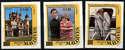 Maldive Islands 1984 SG#1039-41 Royal Baby Thin Gold Surch MNH Imperf Set#D34143