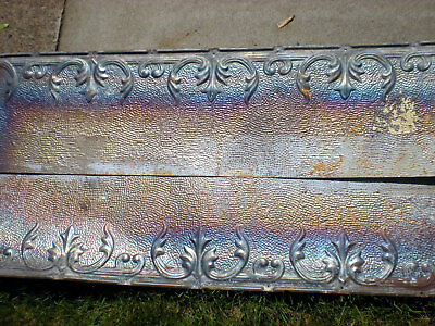 "24""x48"" Antique Iridescent Victorian Ceiling Tin w 8 Tiles Fleur De Li Chic"
