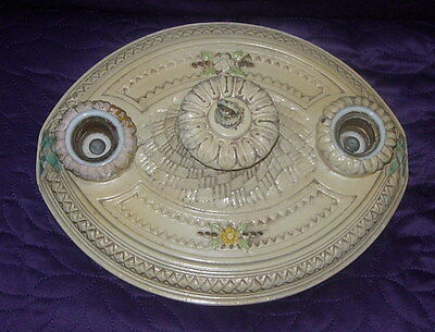 Antique Plaster Or Ceramic Ceiling Light Fixture  Flush Mount  Painted