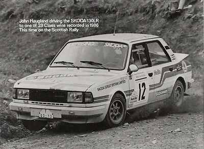 Skoda 130Lr Driven By John Haugland In 1986 Scottish Rally Period Photograph.