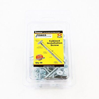 Fastcap PHZ8.3''-50 SQUARE PowerHead Cabinet Installation Wood Screws - 50 Pack