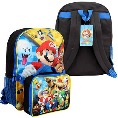 """Nintendo Super Mario Brothers School 16"""" Large Backpack with Lunch Bag"""