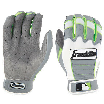 Franklin CFX Pro Custom Baseball/Softball Batting Gloves, Gray/Neon Green, Large