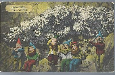 The 7 Dwarfs Jolly Gnomes Fairyland Rock City Gardens Lookout Mtn. TN Postcard