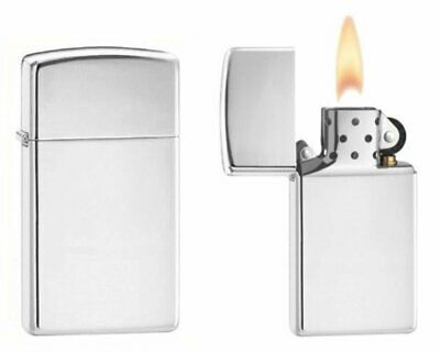 Zippo High Polish Chrome Finish Lighter, Slim, Genuine USA Windproof #1610