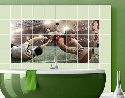 Tile Mural Rugby Action