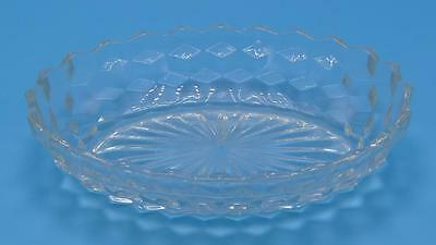 Clear Pressed Glass Vegetable Dish Raised Cube Design