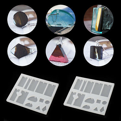 Crystal Geometric Jewelry Mold Pendant Silicone Ornament Resin Craft Making DIY