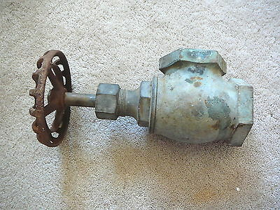 "Antique Brass Crane 2""  Right Angle Gate Valve 5"" Cast Iron Wheel Top Steampunk"