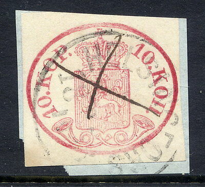 FINLAND 1856 10 Kop. cut square, used with postmark and pen cancel
