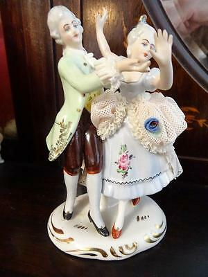 Vintage Dresden Volkstedt Dancing Lace Couple