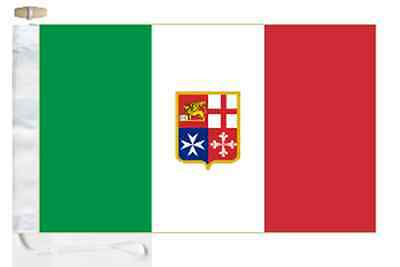 Italy Civil Ensign Courtesy Boat Flag Roped & Toggled