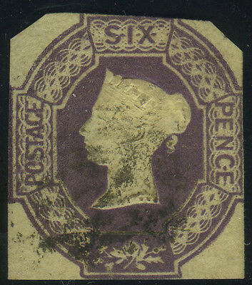 SG 60 6d purple, sound used partially cut to shape example, Cat £1000, reasonabl