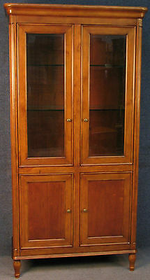 Laura Ashley Chatford Cherry Wood Tall Display Cabinet / Bookcase On Cupboard