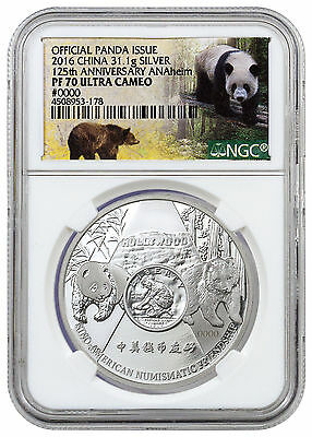 2016 China 1 oz. Proof Silver Panda Anaheim ANA Show NGC PF70 UC SKU42299