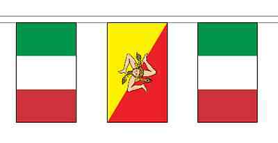 Italy Sicily & Italy Polyester Flag Bunting - 5m with 14 Flags